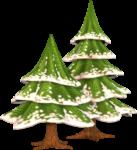 Скачать PNG картинку на прозрачном фоне две елки нарисованные