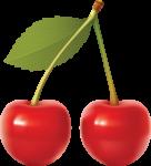 Скачать PNG картинку на прозрачном фоне Две нарисованные ягоды черешни на одной веточке с листиком