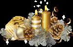 Скачать PNG картинку на прозрачном фоне Две новогодние нарисованные свечки с игрушками и шишками