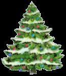 Скачать PNG картинку на прозрачном фоне елка, картинка, снег на ветках с игрушками