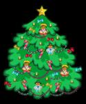 Скачать PNG картинку на прозрачном фоне елка нарисованная, мультяшная с игрушками