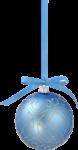 Скачать PNG картинку на прозрачном фоне елочный голубой шар с серебряными узорами и синей лентой