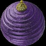 Скачать PNG картинку на прозрачном фоне Фиолетовый рефленый новогодний елочный шар, вид сбоку