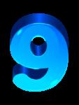 Скачать PNG картинку на прозрачном фоне Глянцевая синяя объемная цифра 9
