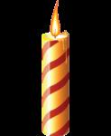 Скачать PNG картинку на прозрачном фоне Горящая нарисованная свеча с красной спиральной полоской