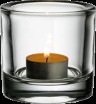 Скачать PNG картинку на прозрачном фоне Горящая свеча в стеклянном прозрачном подсвечнике