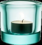 Скачать PNG картинку на прозрачном фоне Горящая свеча в стеклянном водсвечнике голубого цвета