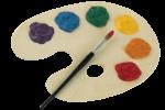 Скачать PNG картинку на прозрачном фоне Кисть для рисования лежит сверху на палитре с красками