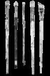 Скачать PNG картинку на прозрачном фоне Кисти для рисования, черно-белые, вид сверху