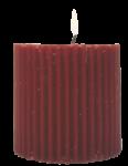 Скачать PNG картинку на прозрачном фоне Красная толстая рефленая свеча горит, вид сбоку