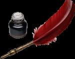 Скачать PNG картинку на прозрачном фоне Красное перо рядом с банкой чернил