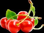Скачать PNG картинку на прозрачном фоне Красные вишенки с листьями