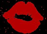 Скачать PNG картинку на прозрачном фоне Красный нарисованный след от помады