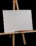 Скачать PNG картинку на прозрачном фоне Мольберт на деревянной подставке с кистью