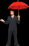 Скачать PNG картинку на прозрачном фоне Молодой человек в костюме, ддержит открытый красный зонт