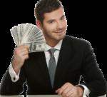 Скачать PNG картинку на прозрачном фоне Молодой парень в костюме, сидит, держит веер из денег