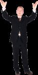 Скачать PNG картинку на прозрачном фоне Мужчина в черном костюме, с поднятыми руками вверх