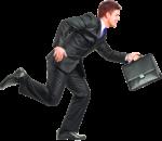 Скачать PNG картинку на прозрачном фоне Мужчина в костюме и портфелем бежит, вид сбоку
