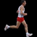 Скачать PNG картинку на прозрачном фоне Мужчина в красных шортах, вид сбоку, бежит вправо