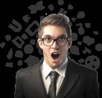 Скачать PNG картинку на прозрачном фоне Мужчина в очках и костюме у которого появилась идея