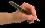 Скачать PNG картинку на прозрачном фоне Мужская рука, левая, держит черно-золотую авторучку