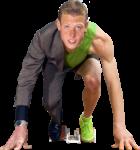 Скачать PNG картинку на прозрачном фоне На половину одеты в костюм и спортивную одежду молодой человек