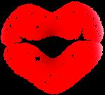 Скачать PNG картинку на прозрачном фоне Нарисоованный след от помады красноо цвета, в виде сердца