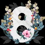Скачать PNG картинку на прозрачном фоне Нарисованая красками цифра 8 с цветами