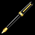 Скачать PNG картинку на прозрачном фоне Нарисованная черно-золотая перьевая ручка