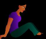 Скачать PNG картинку на прозрачном фоне Нарисованная девушка в фиолетовой кофте, сидит