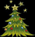 Скачать PNG картинку на прозрачном фоне нарисованная елка с шарами