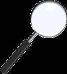 Скачать PNG картинку на прозрачном фоне Нарисованная лупа с бликом и черной ручкой