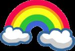 Скачать PNG картинку на прозрачном фоне Нарисованная радуга между облаками