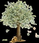 Скачать PNG картинку на прозрачном фоне Нарисованное дерево из доллоровых купююр