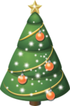 Скачать PNG картинку на прозрачном фоне нарисовання зеленая елка с рыжими шарами