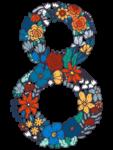 Скачать PNG картинку на прозрачном фоне Нарисованные цвета в форме цифры восемь,8