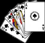 Скачать PNG картинку на прозрачном фоне Нарисованные игральны карты, флеш рояль пика