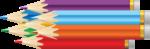 Скачать PNG картинку на прозрачном фоне Нарисованные разноцветные карандаши, заточенные с ластиком