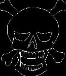 Скачать PNG картинку на прозрачном фоне Нарисованный череп, позади две кости
