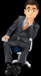 Скачать PNG картинку на прозрачном фоне Нарисованный мужчина в костюме, сидит в офисном кресле