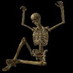 Скачать PNG картинку на прозрачном фоне Нарисованный скелет, сидит, руки подняты вверх
