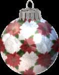 Скачать PNG картинку на прозрачном фоне нарисованный ёлочный шар с цветами