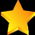Скачать PNG картинку на прозрачном фоне Объемная золотая пятиконечная звезда