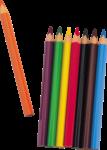 Скачать PNG картинку на прозрачном фоне Один карандаш рядом с остальным набором, вид сверху, заточенные