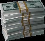 Скачать PNG картинку на прозрачном фоне Пачки сто доллоровых банкнот