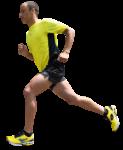 Скачать PNG картинку на прозрачном фоне Парень бежит в желто-черном костюме, вид сбоку