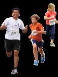 Скачать PNG картинку на прозрачном фоне Парень с детьми бежит, вид спереди