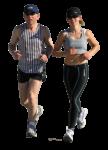 Скачать PNG картинку на прозрачном фоне Парень с девушкой бегут в серых футболках, вид спереди