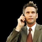 Скачать PNG картинку на прозрачном фоне Парень в костюме, держит мобильный телефон у уха