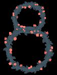 Скачать PNG картинку на прозрачном фоне Плетеная цифра восемь,8, из цветов и ягод, нарисованная